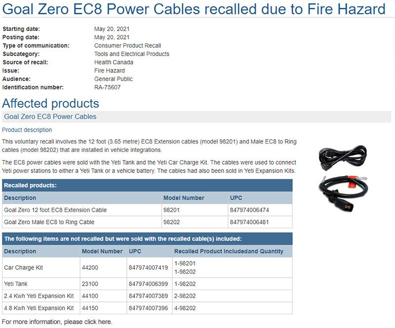 Goal Zero EC8 Power Cables recalled due to Fire Hazard
